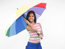 Ragazza asiatica con l'ombrello Fotografie Stock