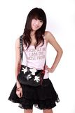 Ragazza asiatica con la borsa Fotografie Stock Libere da Diritti