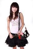 Ragazza asiatica con la borsa Fotografie Stock
