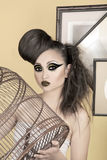 ragazza con la gabbia di uccello Fotografia Stock Libera da Diritti