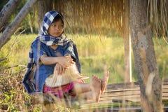 Ragazza asiatica dell'agricoltore che lavora al giacimento del riso sulla stagione del raccolto Immagini Stock Libere da Diritti