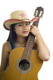 Ragazza asiatica della chitarra fotografie stock libere da diritti