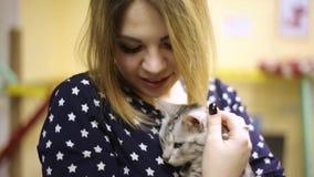 Ragazza asiatica della donna che segna un gatto grigio preoccupato, esaminando macchina fotografica, sorridente stock footage
