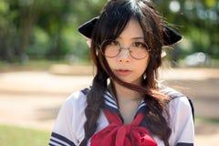 Ragazza asiatica della scuola con gli occhi incantanti Fotografie Stock Libere da Diritti