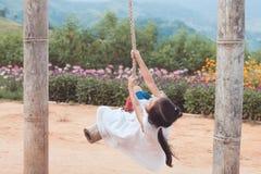 Ragazza asiatica felice del piccolo bambino divertendosi da giocare sulle oscillazioni di legno immagini stock libere da diritti