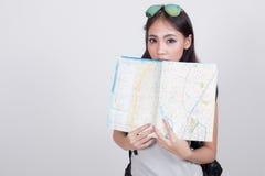 Ragazza asiatica nel concetto di viaggio Fotografie Stock Libere da Diritti