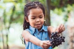 Ragazza asiatica sveglia del bambino che tiene mazzo di uva rossa Immagini Stock