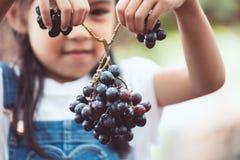 Ragazza asiatica sveglia del bambino che tiene mazzo di uva rossa Fotografia Stock Libera da Diritti
