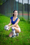 Ragazza asiatica vestita in abbigliamento italiano delle ragazze pon pon Fotografie Stock Libere da Diritti
