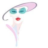 Ragazza astratta del ritratto dell'acquerello, gray rosa del cappello, Fotografia Stock