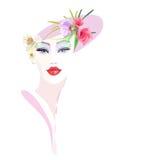 Ragazza astratta del ritratto dell'acquerello, rosa floreale del cappello Immagini Stock