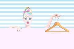 Ragazza astratta dell'illustrazione dell'acquerello nel vestirsi con i ganci Fotografia Stock Libera da Diritti