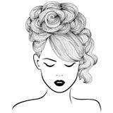 Ragazza attraente con alti capelli splendidi royalty illustrazione gratis