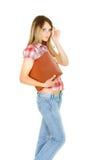 Ragazza attraente dell'allievo con il grande libro Fotografia Stock Libera da Diritti