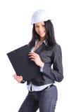 Ragazza attraente dell'architetto con il cappello duro Fotografie Stock