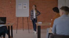 Ragazza attraente vicino al bordo bianco la ragazza è preoccupata davanti a di vasto pubblico 4K video d archivio