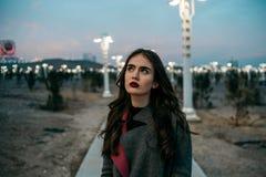 Ragazza bella giovane in un cappotto grigio con le pose nella sera immagine stock libera da diritti