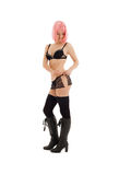 Ragazza in biancheria nera con capelli rosa Fotografie Stock