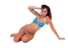 Ragazza in bikini blu Fotografie Stock