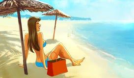 Ragazza in bikini che si siede sulla spiaggia sotto un parasole Immagine Stock Libera da Diritti