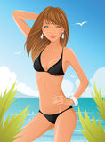 Ragazza in bikini nero illustrazione di stock