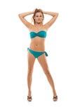 Ragazza in bikini su priorità bassa bianca Fotografie Stock