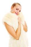 Ragazza bionda bella in rivestimento della pelliccia immagine stock libera da diritti