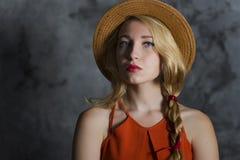 Ragazza bionda in cappello Immagine Stock Libera da Diritti