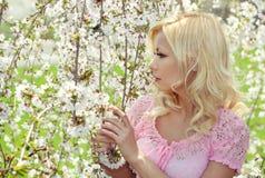 Ragazza bionda con Cherry Blossom. Ritratto della primavera. Immagine Stock Libera da Diritti
