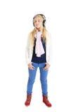 Ritratto di una ragazza bionda con cuffie. Fotografia Stock Libera da Diritti
