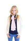 Ritratto di una ragazza bionda con cuffie. Immagini Stock Libere da Diritti