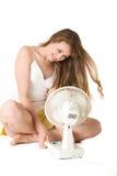 Ragazza bionda con il ventilatore Immagine Stock