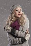 Ragazza bionda di inverno di modo Fotografie Stock