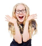 Ragazza bionda felice in vetri neri Fotografie Stock