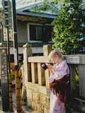 Ragazza bionda in kimono Fotografia Stock