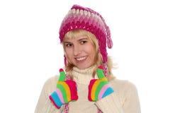 Ragazza bionda sorridente in protezione Fotografia Stock Libera da Diritti