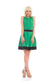 Ragazza bionda sorridente in vestito verde Immagine Stock