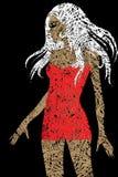 Ragazza bionda sottile con bei capelli in vestito rosso illustrazione di stock