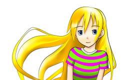 Ragazza bionda teenager del anime Fotografie Stock Libere da Diritti