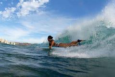 Ragazza Bodyboarder immagine stock