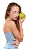 Ragazza in buona salute attraente con la mela Fotografia Stock Libera da Diritti