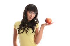 Ragazza in buona salute con la mela fresca fotografie stock libere da diritti
