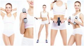 Ragazza in buona salute, sportiva e bella isolata su fondo bianco Donna in una collezione di allenamento di forma fisica Nutrizio Fotografia Stock