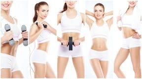 Ragazza in buona salute, sportiva e bella isolata su fondo bianco Donna in una collezione di allenamento di forma fisica Nutrizio Fotografia Stock Libera da Diritti