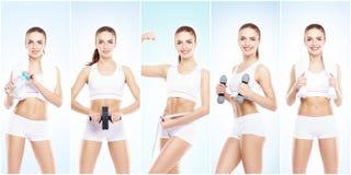Ragazza in buona salute, sportiva e bella isolata su fondo bianco Donna in una collezione di allenamento di forma fisica Nutrizio Immagine Stock Libera da Diritti