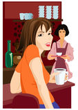 Ragazza in caffè Fotografie Stock