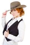 Ragazza in cappello di cowboy Fotografie Stock Libere da Diritti