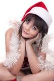 Ragazza in cappello di natale fotografie stock libere da diritti