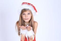 Ragazza in cappello di Santa Fotografie Stock