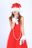 ragazza in cappello di Santa Fotografie Stock Libere da Diritti